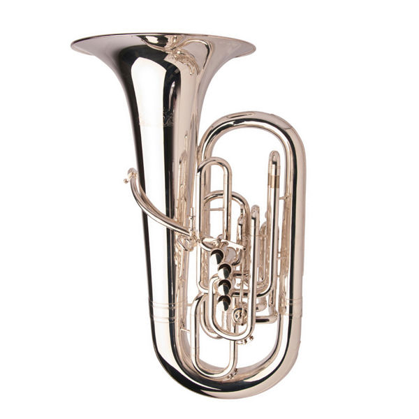 Tuba F Adams Custom Serie Solo, 4 Valves + 1 cylinder, Selected Model, Brass Bell (0,70), Silver Plated