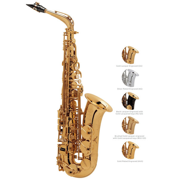 Altsaksofon Selmer SA80 II, Brush Gold Lacquered Engraved + Gold Lacquered keys, Outfit