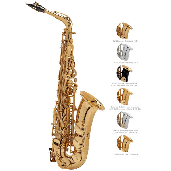 Altsaksofon Selmer Serie III, Brush Gold Lacquered Engraved + Gold Lacquered keys, OUtfit