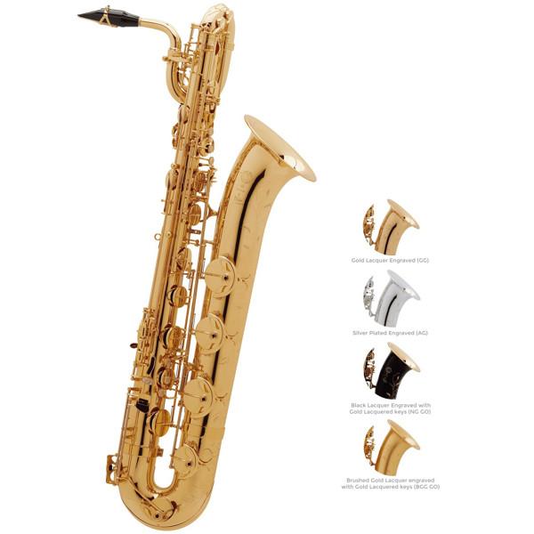 Barytonsaksofon Selmer SA80 II, Brush Gold Lacquered Engraved + Gold Lacquered keys, Outfit