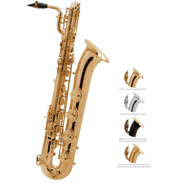 Barytonsaksofon Selmer Serie III, Brush Gold Lacquered Engraved + Gold Lacquered keys, Outfit