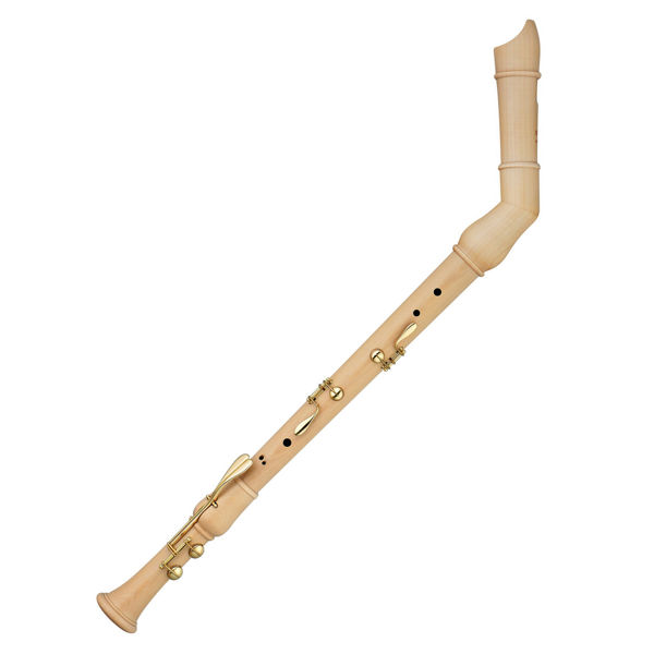 Blokkfløyte Bass Moeck Rondo 2540 Baroque, Natural Maple wood, Double Keys, Bent neck