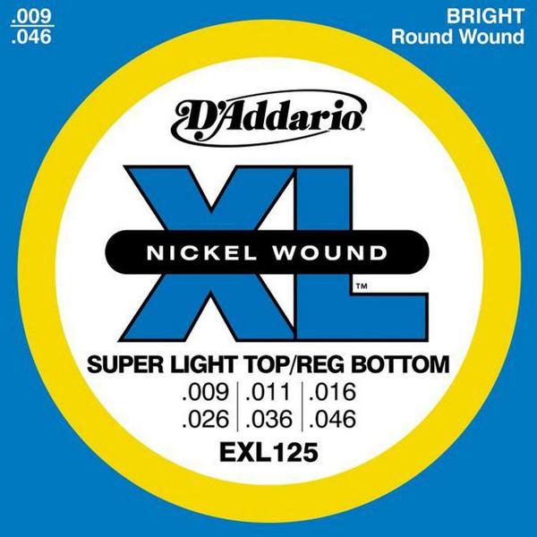 Gitarstrenger Elektrisk D'Addario EXL-125 Super Light / Reg.