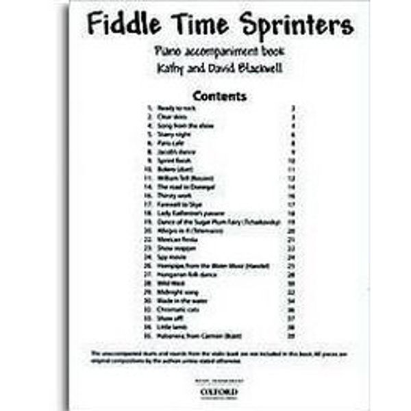 Fiddle Time Sprinters, Piano accompaniment, Blackwell
