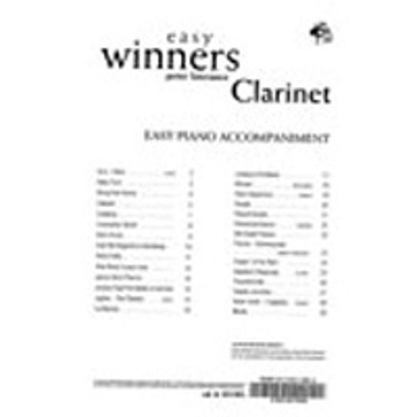 Easy Winners, Clarinet Pianoacc.