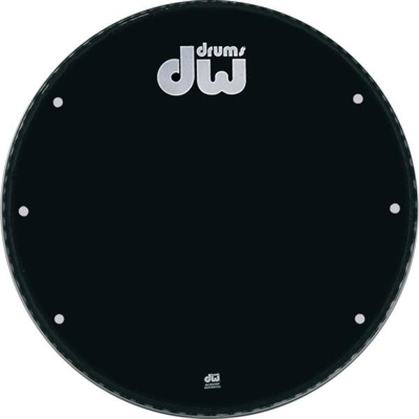 Stortrommeskinn DW Black Logo, Reso, Ported, 28 DRDHGB-28K