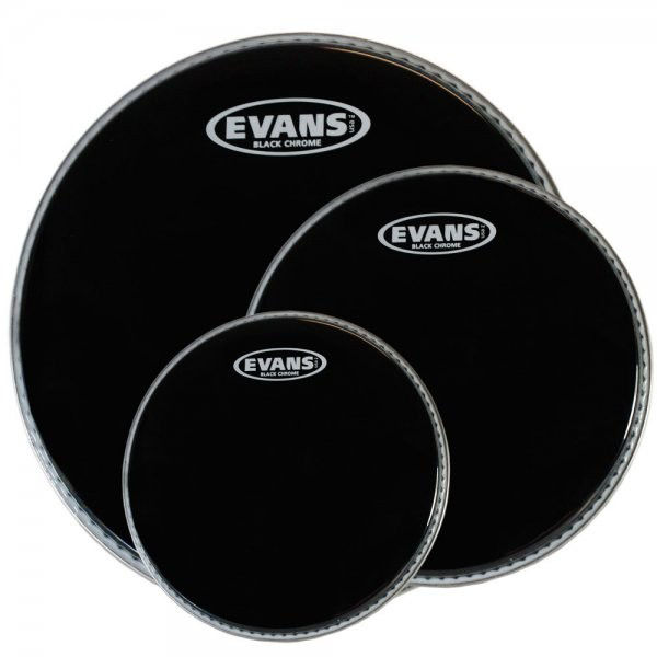 Trommeskinnpakke Evans Black Chrome, ETP-CHR-F, 10,12,14, Fusion, Black