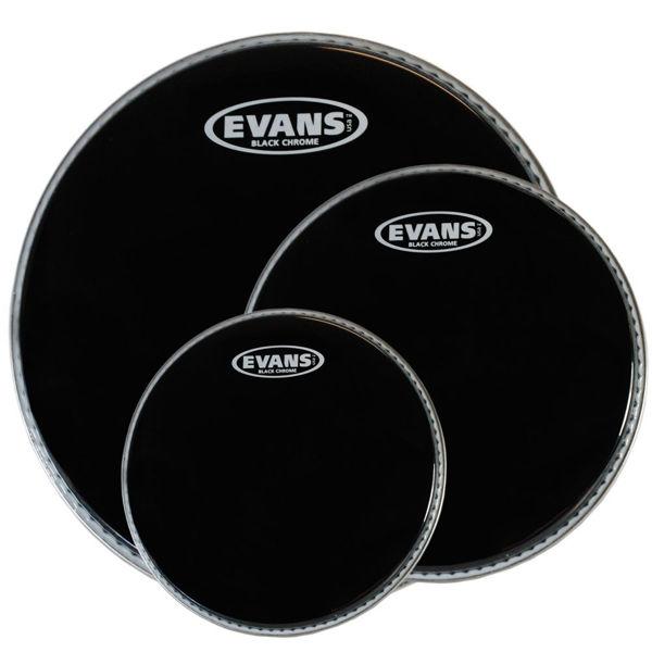 Trommeskinnpakke Evans Black Chrome, ETP-CHR-R, 10,12,16, Rock, Black