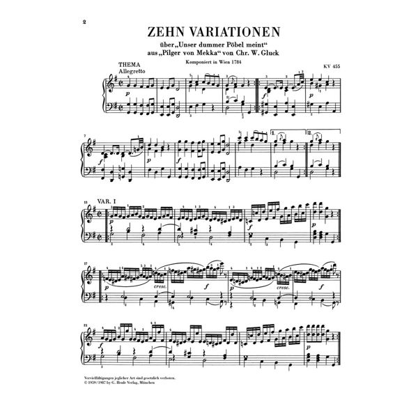 10 Variations on Unser dummer Pöbel K. 455, Wolfgang Amadeus Mozart - Piano solo