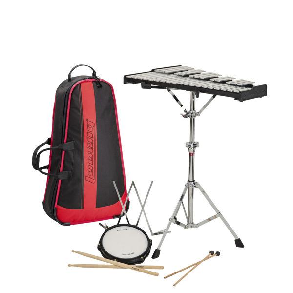 Klokkespillpakke Musser M652BBR m/Backpack Bag, Klokkespill, Trommepad, Stativ