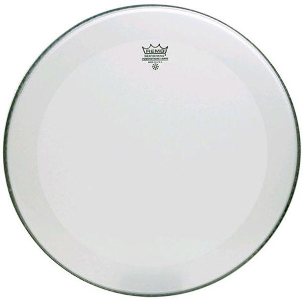 Stortrommeskinn Remo Powerstroke 3 Smooth White, P3-1226-C1, 26, m/Slam Patch