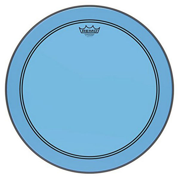 Stortrommeskinn Remo Powerstroke 3 Colortone, P3-1322-CT-BU, 22, Blue, m/Falam Slam Patch
