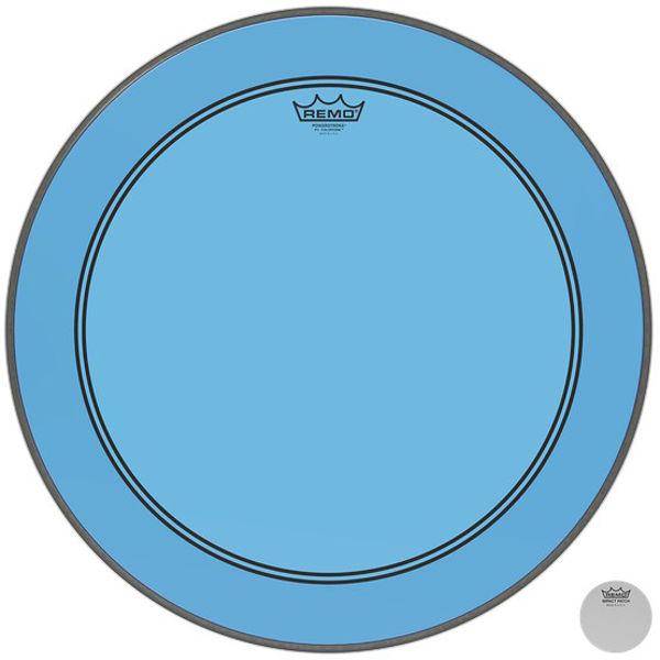 Stortrommeskinn Remo Powerstroke 3 Colortone, P3-1324-CT-BU, 24, Blue, m/Falam Slam Patch