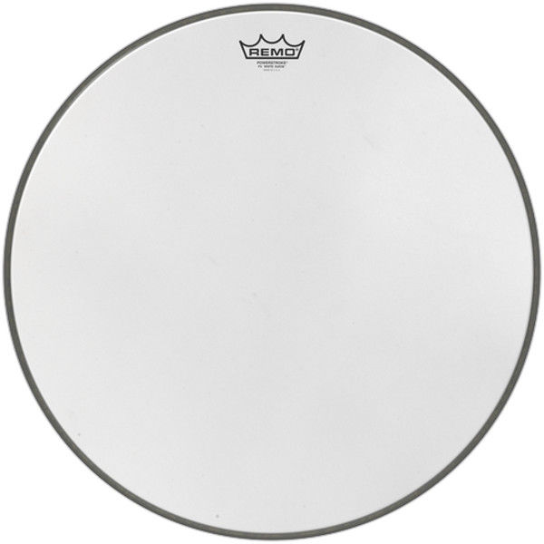 Stortrommeskinn Remo Powerstroke 3 White Suede, P3-1824-WS, 24 m/Falam Slam Patch
