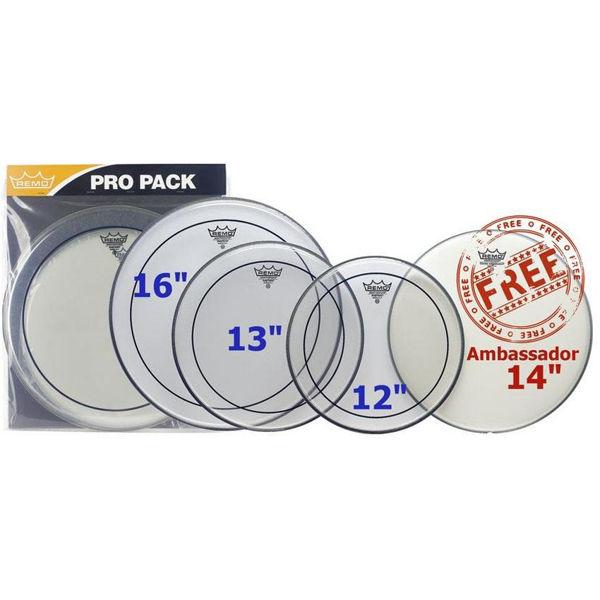 Trommeskinnpakke Remo Pinstripe Clear PP-0320-PS, ProPack ,12,13,16 +14 Ambassador Coated