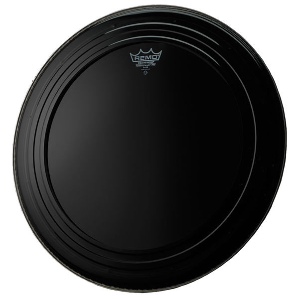 Stortrommeskinn Remo Powerstroke Pro Ebony, PR-1420-00, 20 m/Falam Slam Patch