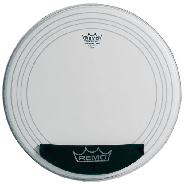 Stortrommeskinn Remo Powersonic, PW-1124-00, White Coated 24, m/Falam Slam Patch