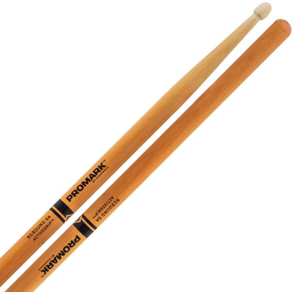 Trommestikker Pro-Mark Rebound Balance R5AAGC, 5A, Hickory Active Grip, Clear Acorn Wood Tip