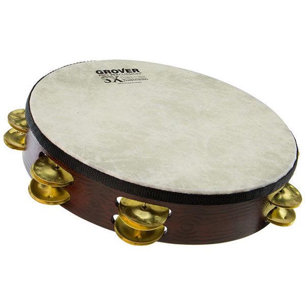 Tamburin Grover SX-BR, Dimpled Brass Jingles m/Bag 10, Fiberskyn Head