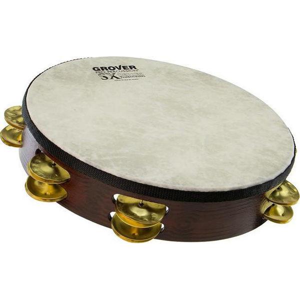 Tamburin Grover SXP-BR, Hammered Brass Jingles m/Bag 10, Fiberskyn Head