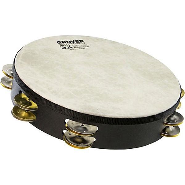 Tamburin Grover SX-SB, Dimpled Silver Brass & Jingles m/Bag 10, Fiberskyn Head