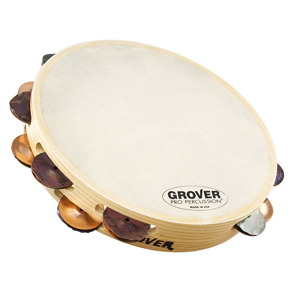 Tamburin Grover T2/HTSPH-B, Custom Dry Silver/Bronze Jingles m/Bag 10, Bantamweight, Calf Head