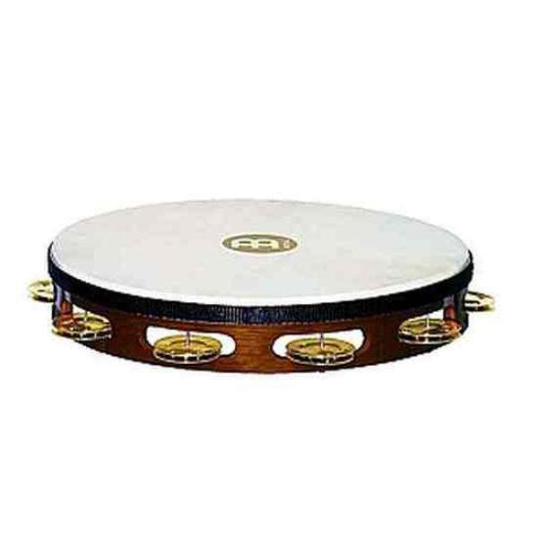 Tamburin Meinl TAH1B-AB, Wood, Enkel m/Skinn, 10 Brass Jingles, African Brown