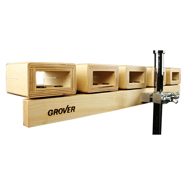 Temple Blocks Grover TPB-XST, 3-Piece Set w/Mounting Clamp & Stand