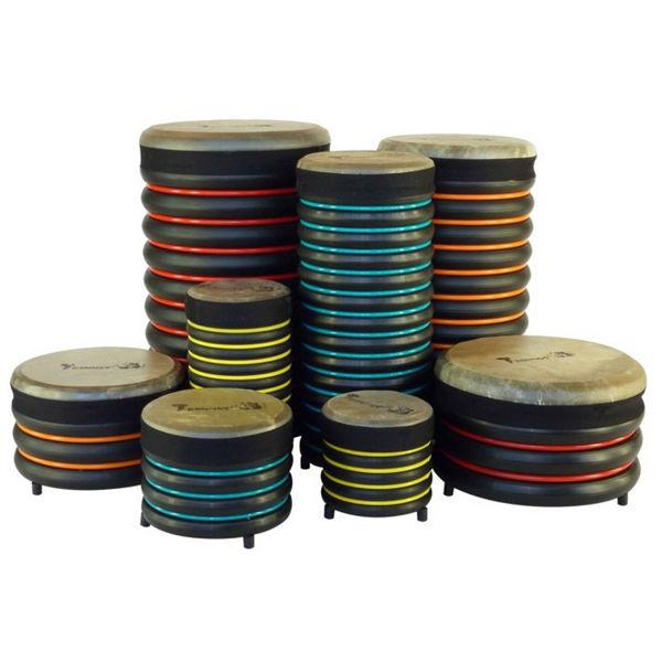 Pedagogtrommer Trommus E3u, A1u-B1u-C1u-D1u-A2u-B3u-C3u-D3u, Set of 8 Drums w/Natural Skin