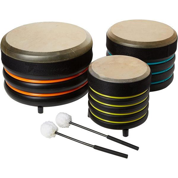 Pedagogtrommer Trommus E5u, A1u-B1u-C1u, Set Of 3 Drums w/Natural Skin