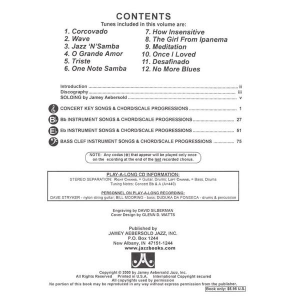 Antonio Carlos Jobim Bossa Nova, Vol 98. Aebersold Jazz Play-A-Long for ALL Musicians