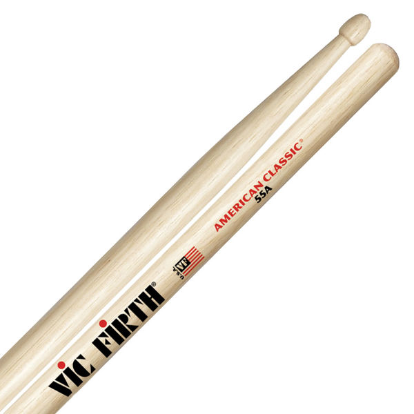 Trommestikker Vic Firth American Classic 55A Hickory, Wood Tip
