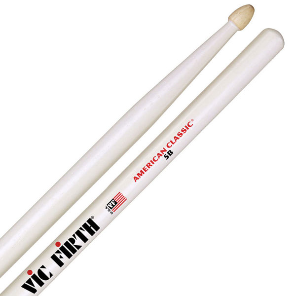 Trommestikker Vic Firth American Classic White 5B Hickory, Wood Tip