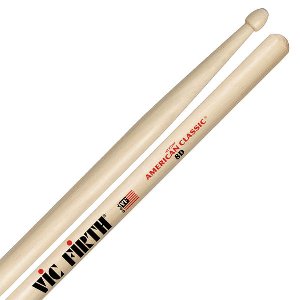 Trommestikker Vic Firth American Classic 8D Hickory, Wood Tip
