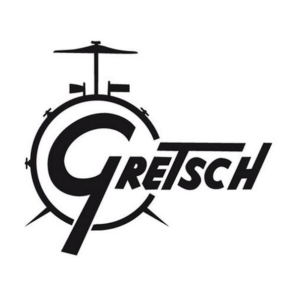 Logo Gretsch, Black, Til Stortrommeskinn