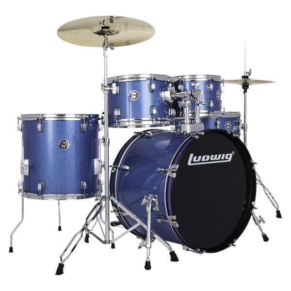 Slagverk Ludwig Accent LC19019, 20 m/Hwd og Cymbaler, Blue Sparkle