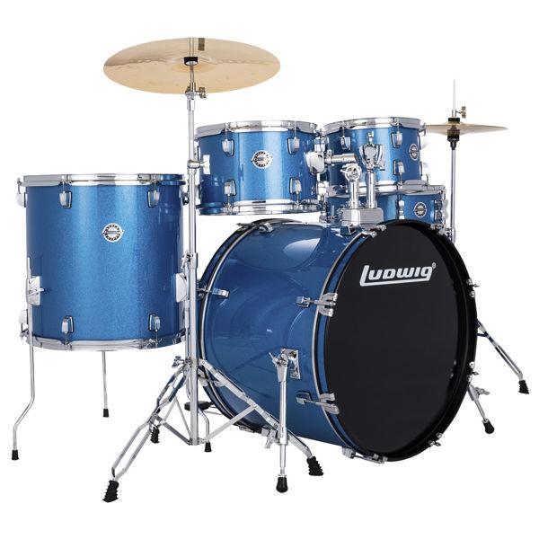 Slagverk Ludwig Accent LC19519, 22 m/Hwd og Cymbaler, Blue Sparkle